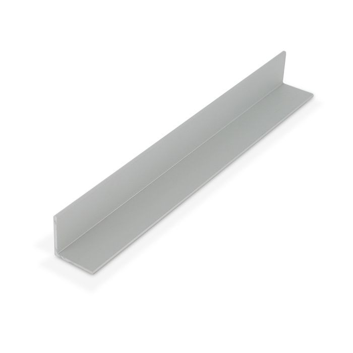 13/16in x 13/16in x 1/16 Thick | Clear Anodized (Satin) Finish Aluminum Even Leg | 90° Angle Moulding | 12ft Length