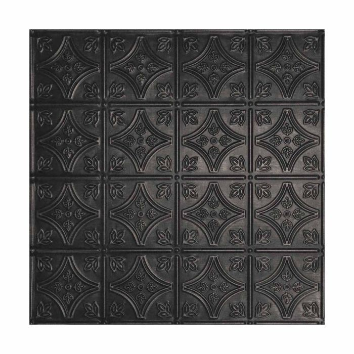 Tin Plated Stamped Steel Ceiling Tile | Nail Up/Glue Up Ceiling Tile | 2ft Sq | Antique Onyx Finish