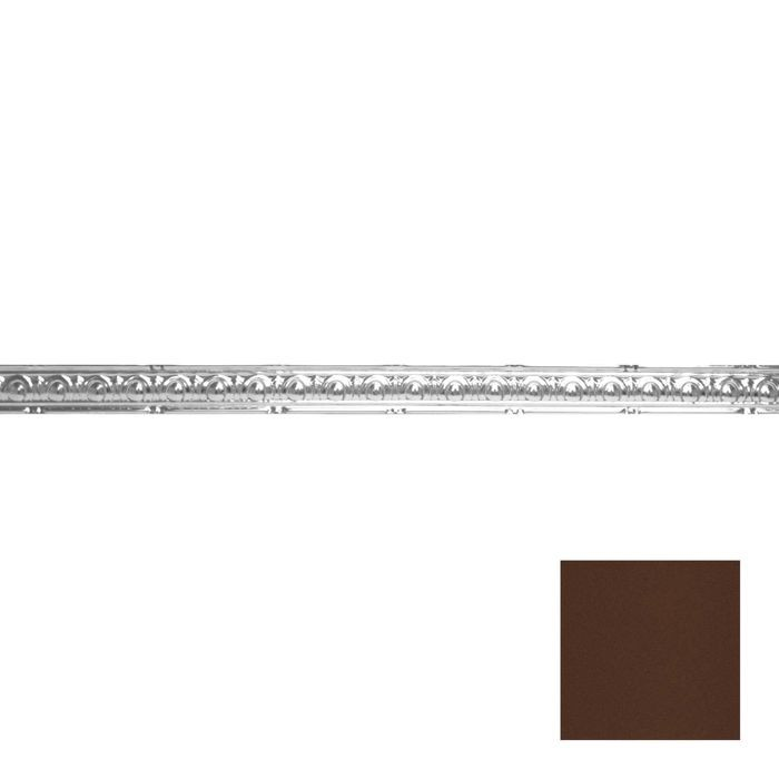 Tin Plated Stamped Steel Cornice | 2in H x 2in Proj | Weathered Brown Finish | 4ft Long