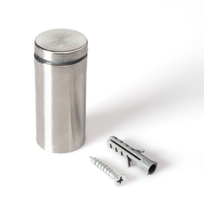 "1"" Diameter x 2"" Barrel Length Brushed Stainless Finish Eco Lite Series Easy Fasten Standoff"