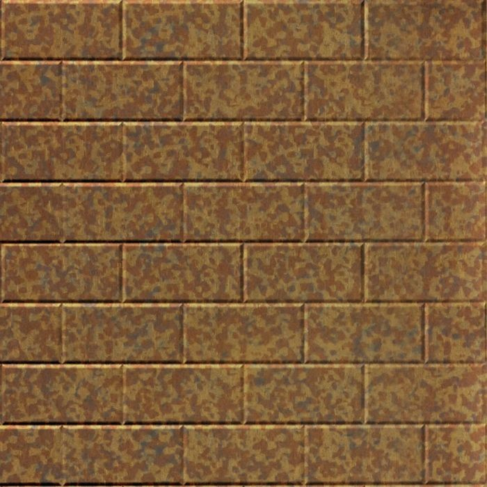 10' Wide x 4' Long Subway Tile Pattern Cracked Copper Finish Thermoplastic Flexlam Wall Panel