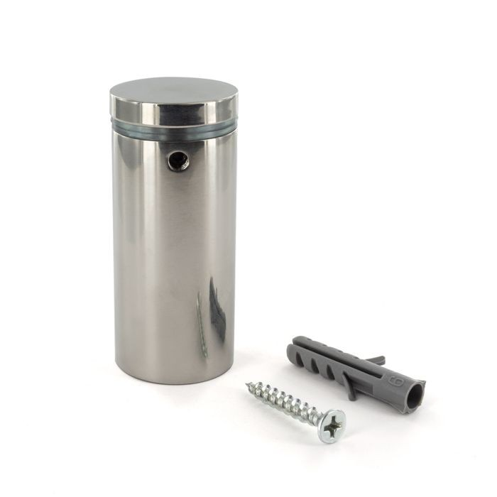 "1"" Diameter x 2"" Barrel Length Polished Stainless Finish Eco Lock Series Tamper Proof Standoff"