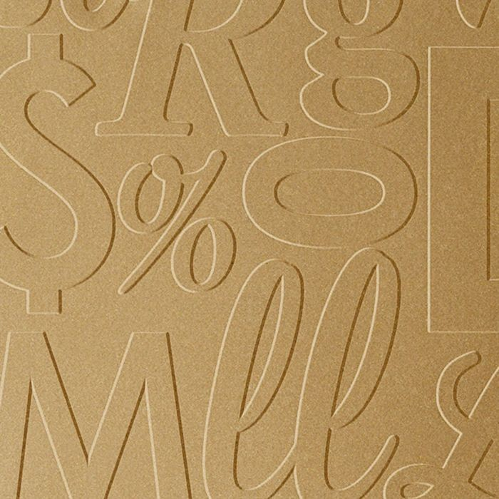 10' Wide x 4' Long Alphabet Soup Pattern Argent Gold Finish Thermoplastic Flexlam Wall Panel