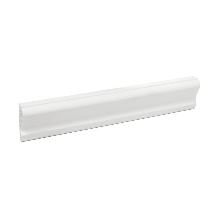 1-1/8in H x 7/16in Proj | Primed White High Impact Polystyrene Panel Moulding | 6in Sample Piece