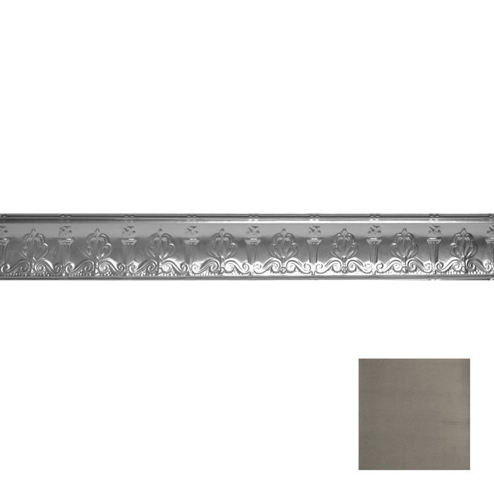Tin Plated Stamped Steel Cornice | 4in H x 4in Proj | Antique Pewter Finish | 4ft Long