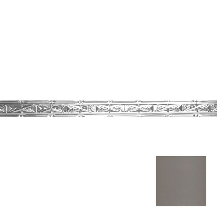 Tin Plated Stamped Steel Cornice | 3-1/2in H x 3in Proj | Silver Grey Finish | 4ft Long