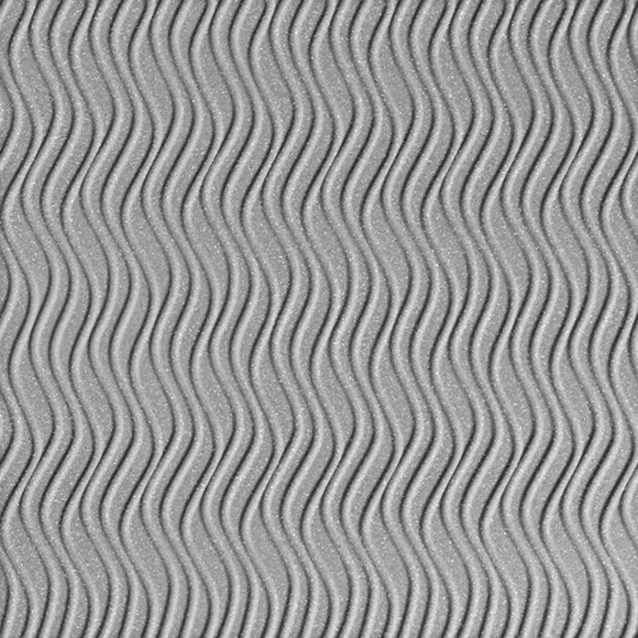 10' Wide x 4' Long Wavation Pattern Argent Silver Vertical Finish Thermoplastic Flexlam Wall Panel