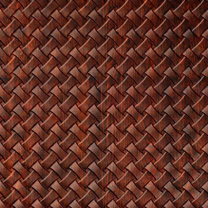 10' Wide x 4' Long Celtic Weave Pattern American Walnut Finish Thermoplastic Flexlam Wall Panel
