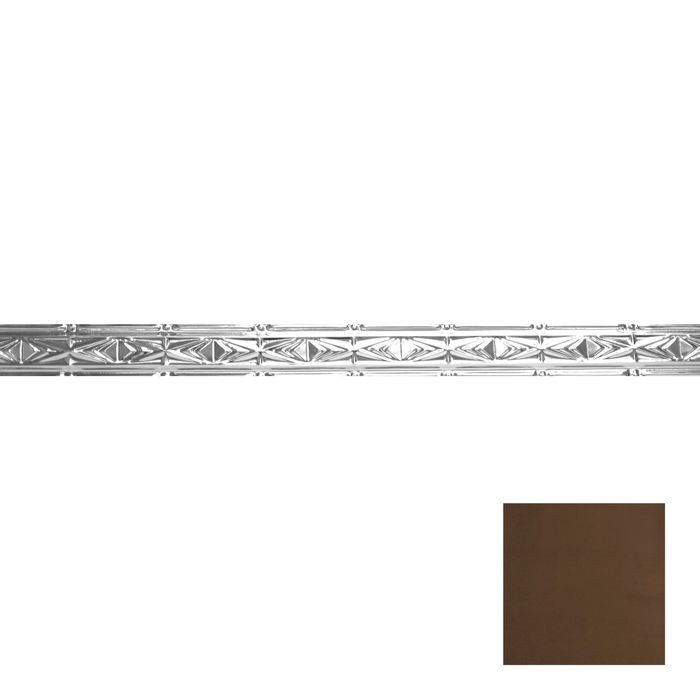 Tin Plated Stamped Steel Cornice | 3-1/2in H x 3in Proj | Antique Brass Finish | 4ft Long