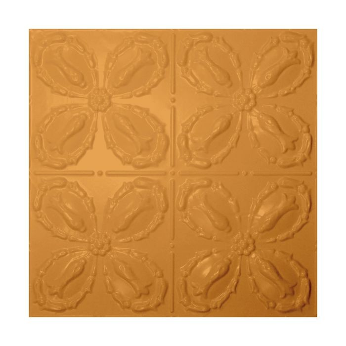 Tin Plated Stamped Steel Ceiling Tile | Lay In | 2ft Sq | Metallic Brass Finish
