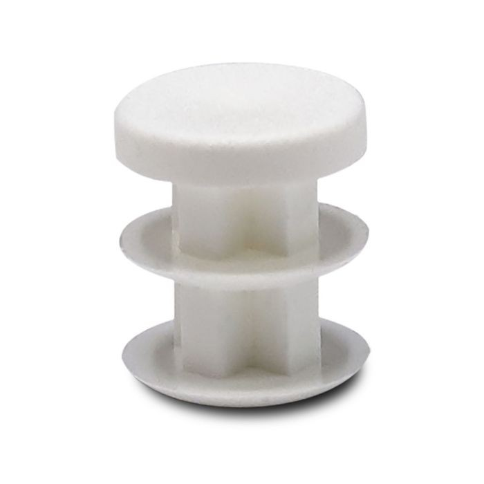 "1/2"" Diameter 14 - 23 Gauge White Matte Finish Textured Low Density Polyethylene Plastic Universal Gauge Inside End Cap for Tubing"