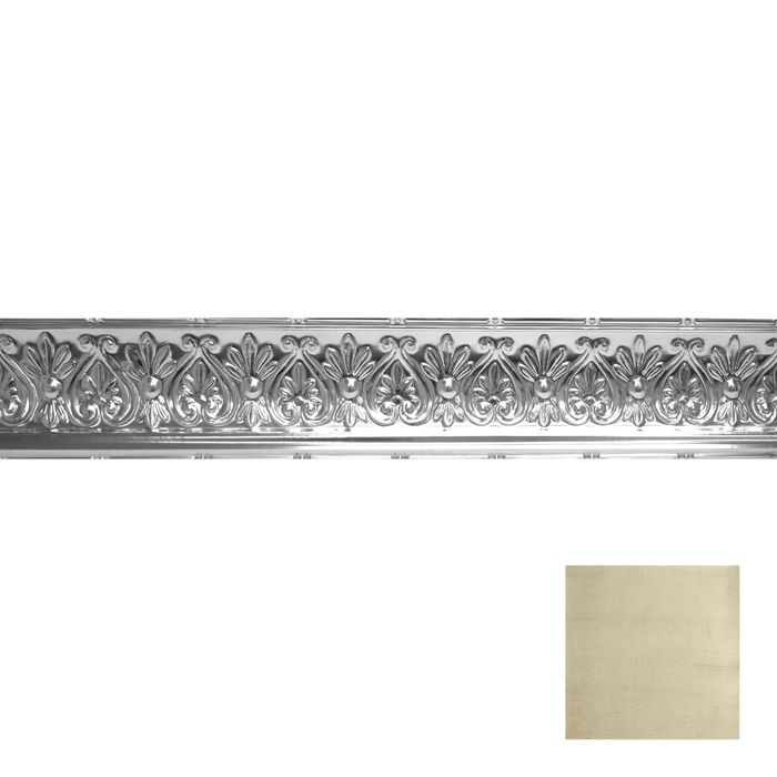 Tin Plated Stamped Steel Cornice | 6-1/4in H x 6-5/8in Proj | Antique White Copper Finish | 4ft Long