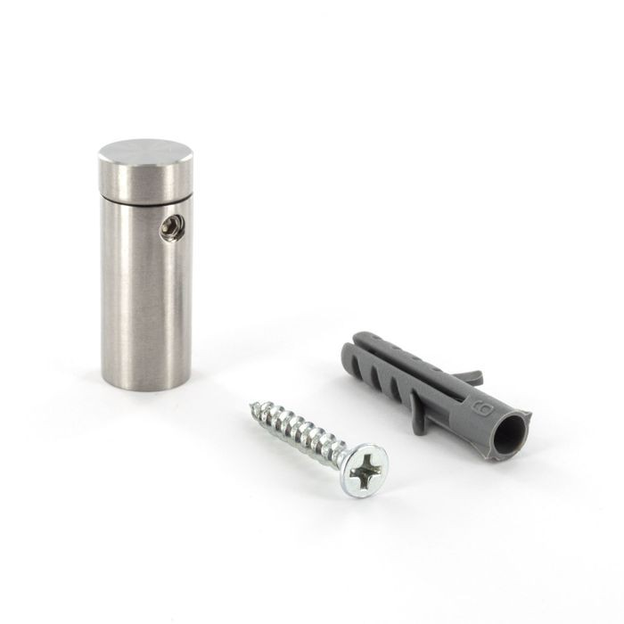 "1/2"" Diameter x 1"" Barrel Length Brushed Stainless Finish Eco Easy Edge It No Drill Standoff"