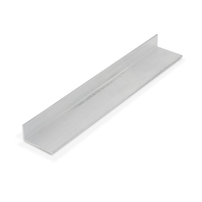 1/2in x 1in x 1/16in Thick | Mechanical Polished Finish Aluminum Uneven Leg | 90° Angle Moulding | 12ft Length