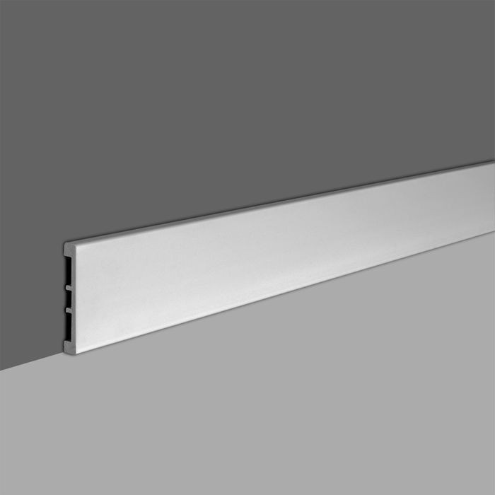 6in High x 5/8in Proj | Primed White High Impact Polystyrene | Baseboard Moulding | 8ft Long