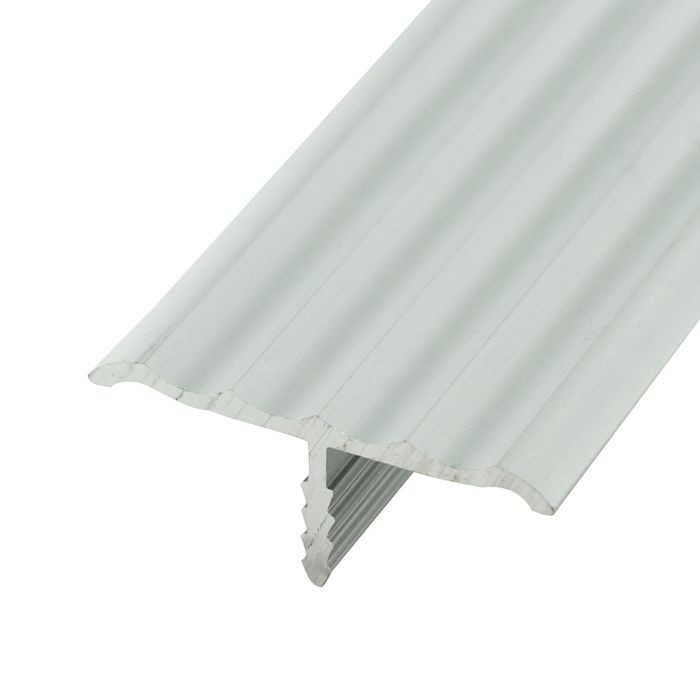 1-1/4in Clear Anodized (Satin) Finish | No Notch Rigid Aluminium | Center Barb Rippled Tee Moulding | 12ft Length