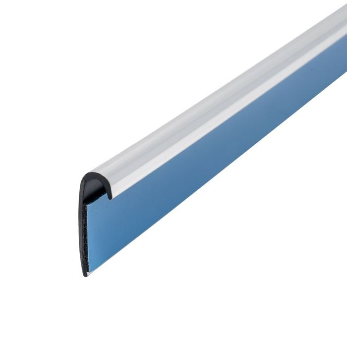 "1/4"" x 3/4"" Polished Chrome ABS With Mylar Film Uneven Leg Lipped 90° Angle Moulding With Adhesive 12' Length"