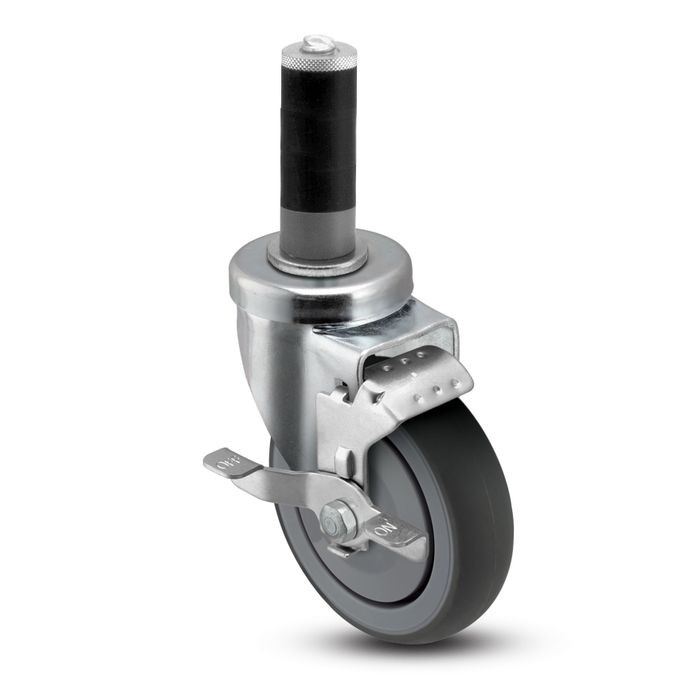 3in Dia | Gray Swivel NSF Series Institutional Caster with Brake | Rubber Adaptor For 1-5/8in I.D. Tubing