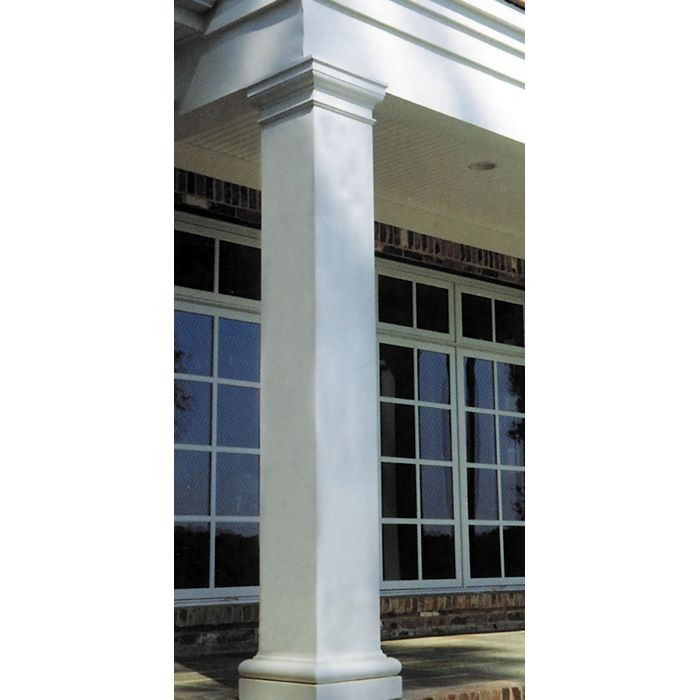 "10' High x 10"" Wide Square Non-Tapered Fiberglass Structural Column with Plain Style Capital and Base"