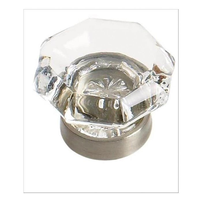 "1 1/16"" Diameter Knob Clear/Satin Nickel"