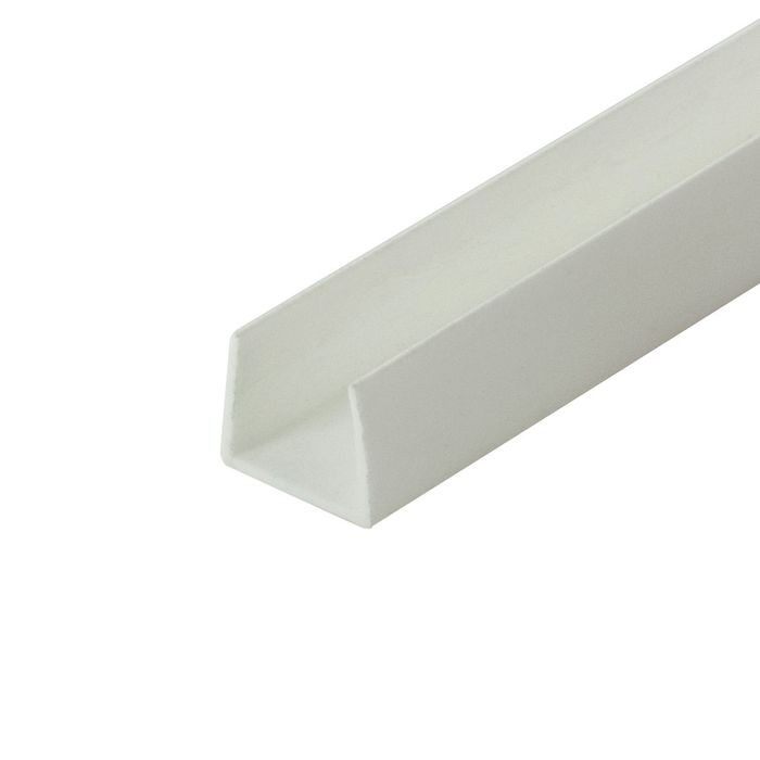 "1/2"" White Rigid Styrene U Channel Moulding 12' Length"
