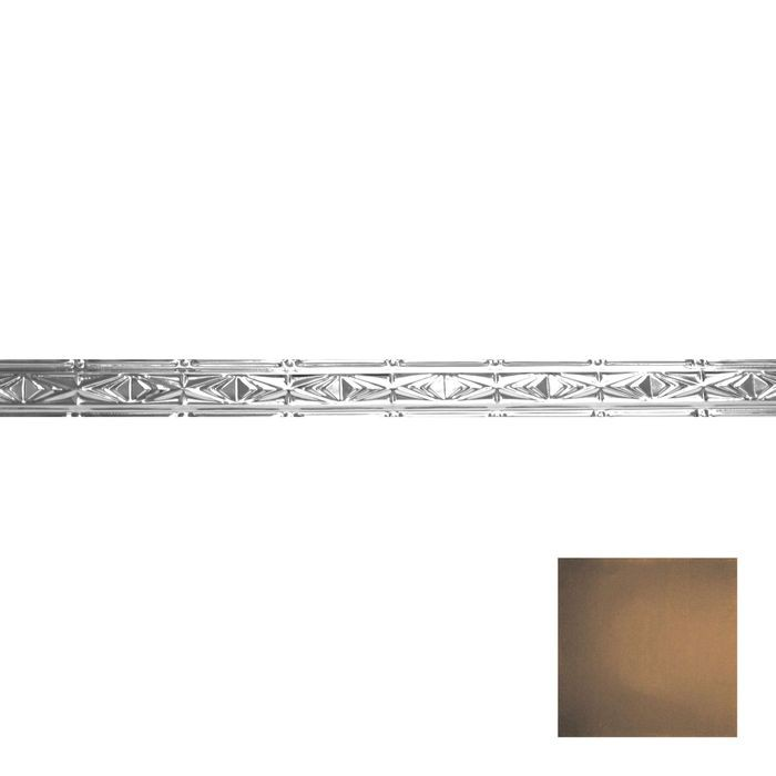 Tin Plated Stamped Steel Cornice | 3-1/2in H x 3in Proj | Antique Rustic Black Finish | 4ft Long