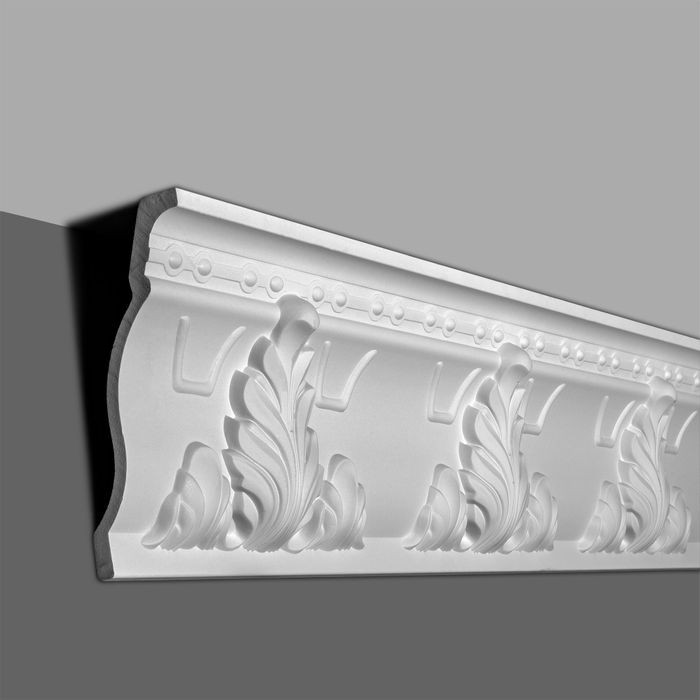 10in Face x 9in H x 3-7/8in Proj | Primed White Polyurethane | Crown Moulding | 96in Long
