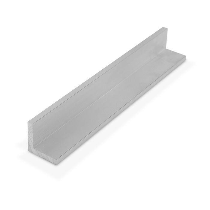 "1"" x 1"" x 3/16"" Thick Mill Finish Aluminum Even Leg 90° Angle Moulding 12' Length"