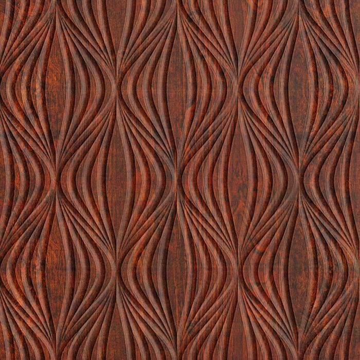 10' Wide x 4' Long Shallot Pattern American Walnut Finish Thermoplastic Flexlam Wall Panel