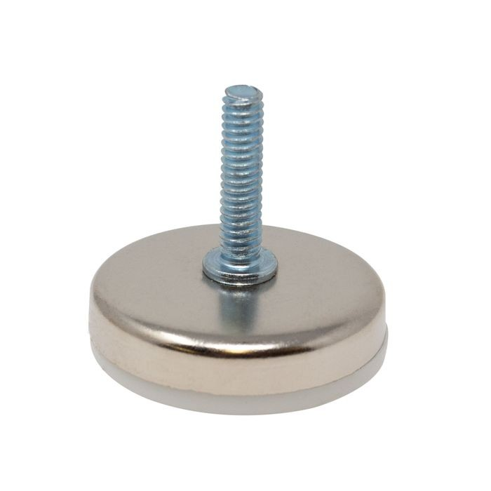 1/4-20 x 1in Long | 1-11/16in Dia Nickel Plated Shell with White Base | Titan Leveler