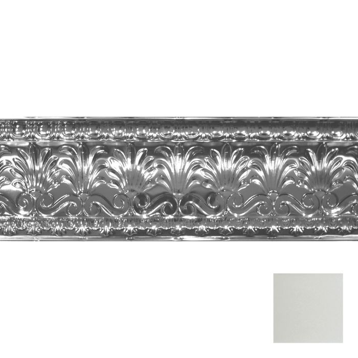 Tin Plated Stamped Steel Cornice | 10-1/2in H x 10-1/2in Proj | Egg Shell Finish | 4ft Long