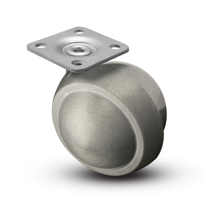 2in (50mm) Dia | Satin Chrome Finish | Swivel Metal Ball Furniture Caster | 1-1/2in Square Top Plate