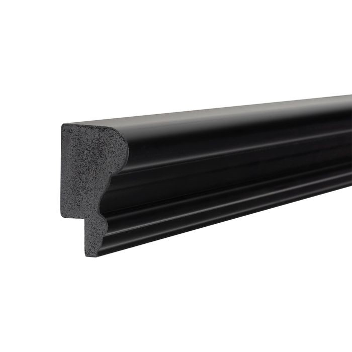 1-3/4in H x 1in Proj | Ebony Black High Impact Polystyrene | Cap and Backband Moulding | 8ft Long