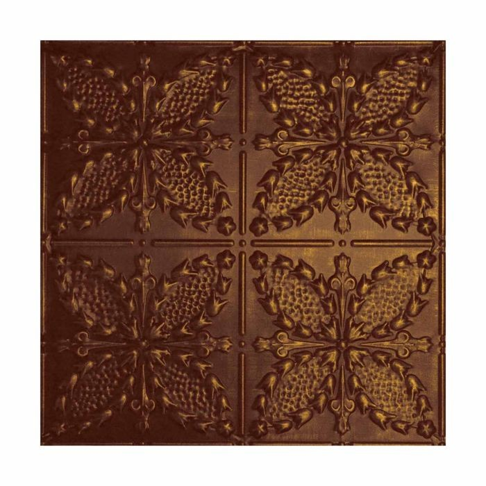 Tin Plated Stamped Steel Ceiling Tile | Nail Up/Glue Up Ceiling Tile | 2ft Sq | Bordeaux Finish