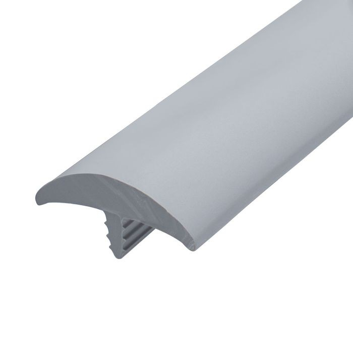 1-1/2in Dove Grey Flexible PVC | Round Bumper Tee Moulding | 100ft Coil