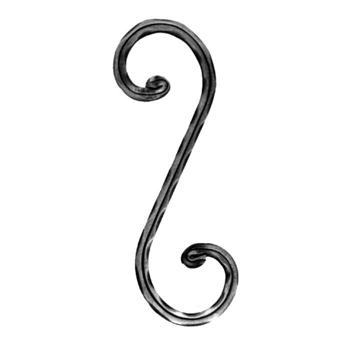 "1/2"" Square x 3-3/4"" W x 11-7/16"" H Wrought Iron Scrolls"