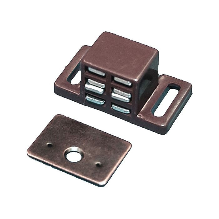 "15/16"" High x 15/16"" Wide x 1-7/8"" Long Brown ABS Plastic Super Strong Magnetic Catch"