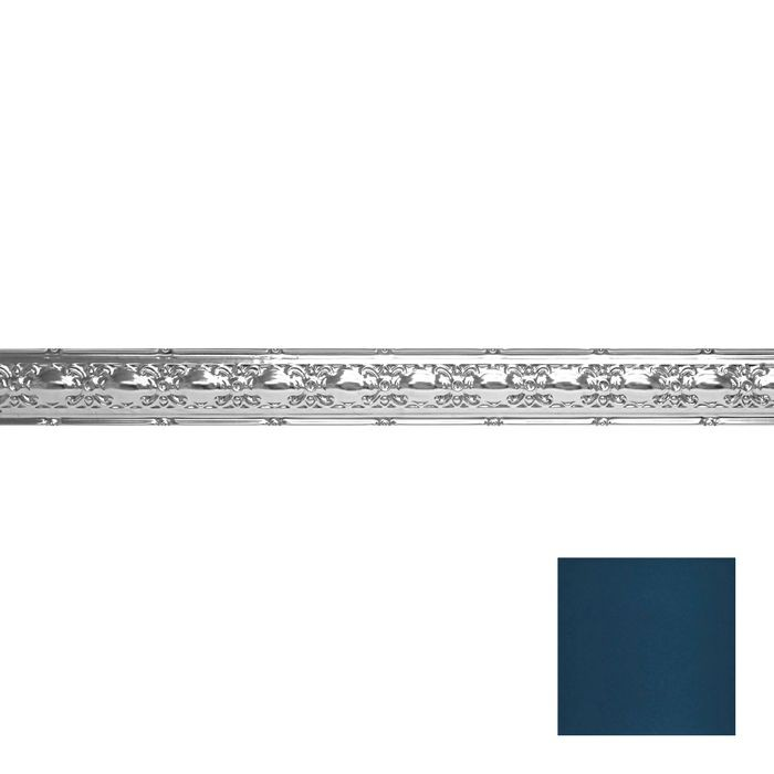 Tin Plated Stamped Steel Cornice | 4in H x4in Proj | Midnight Blue Finish | 4ft Long