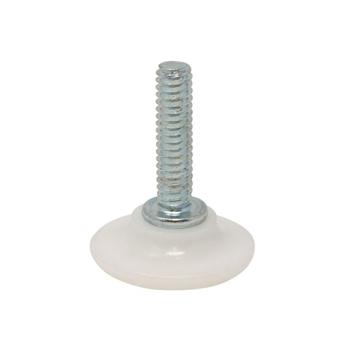 1/4-20 x 1in Long Stem | 1-1/8in Dia White PE Base | Windsor Plastic Base Leveler