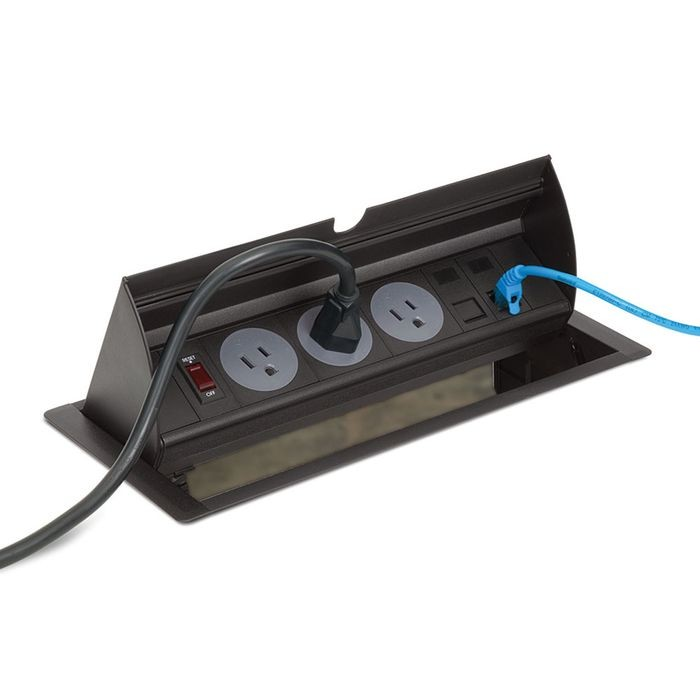 "12-5/8"" Long x 6"" Wide Black In-Desk Power Center with 3 Outlets"