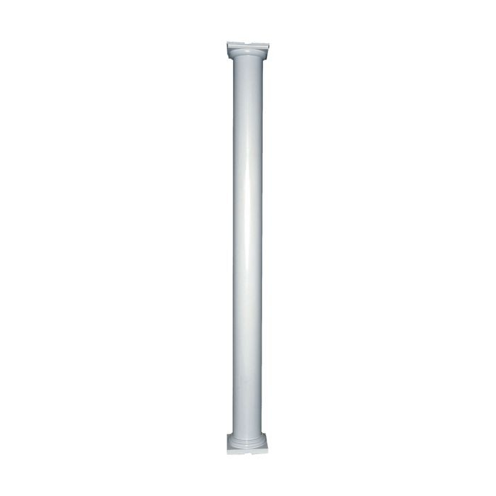 "10' High x 6"" Diameter Paint Grade Wood Non-Tapered Plain Colonial Column with Polyurethane Capital and Base"