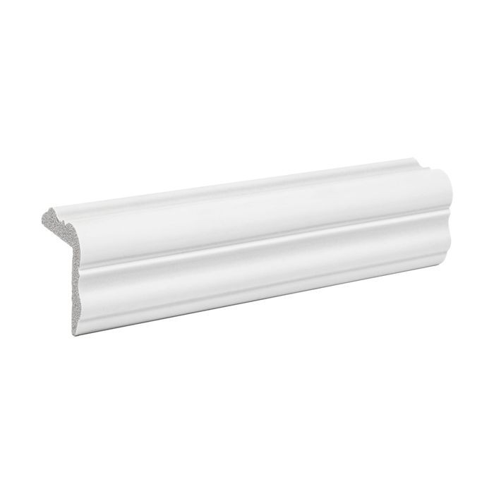 1-1/2in H x 1-1/2in Proj | Primed White High Impact Polystyrene | 90° Angle Moulding | 6in Sample Piece