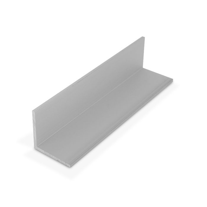 1-1/2in x 1-1/2in x 1/8in Thick | Clear Anodized (Satin) Aluminum Even Leg | 90° Angle Moulding | 12ft Length