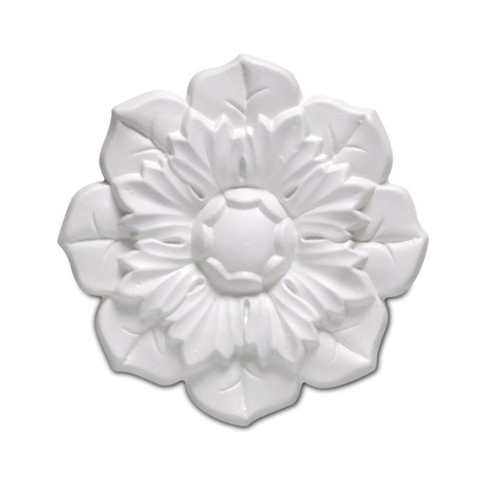 "3-3/4"" Diameter Primed White Polyurethane Dahlia Rosette Applique"