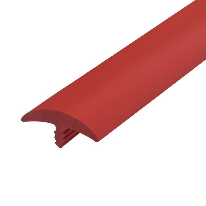 1-1/4in Red Flexible PVC | Round Bumper Tee Moulding | 250ft Coil