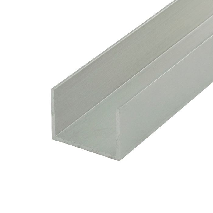 "1"" Mill Finish Aluminum U Channel Moulding 12' Length"