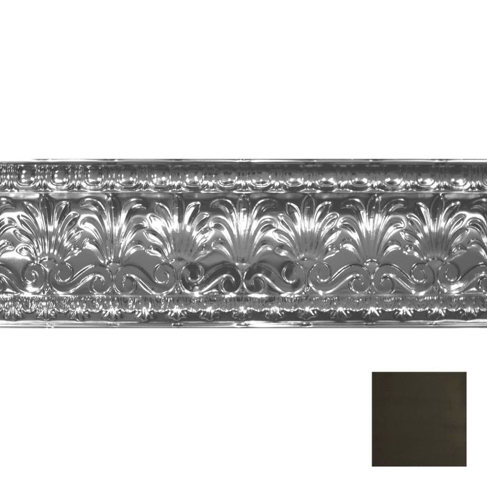 Tin Plated Stamped Steel Cornice | 10-1/2in H x 10-1/2in Proj | Antique Olive Finish | 4ft Long