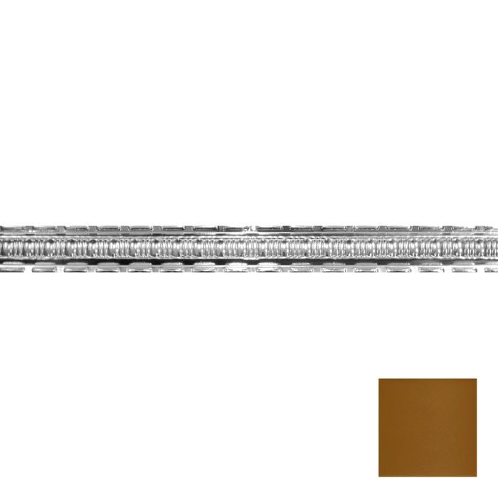 Tin Plated Stamped Steel Cornice | 2-1/2in H x 2-1/2in Proj | Champagne Finish | 4ft Long