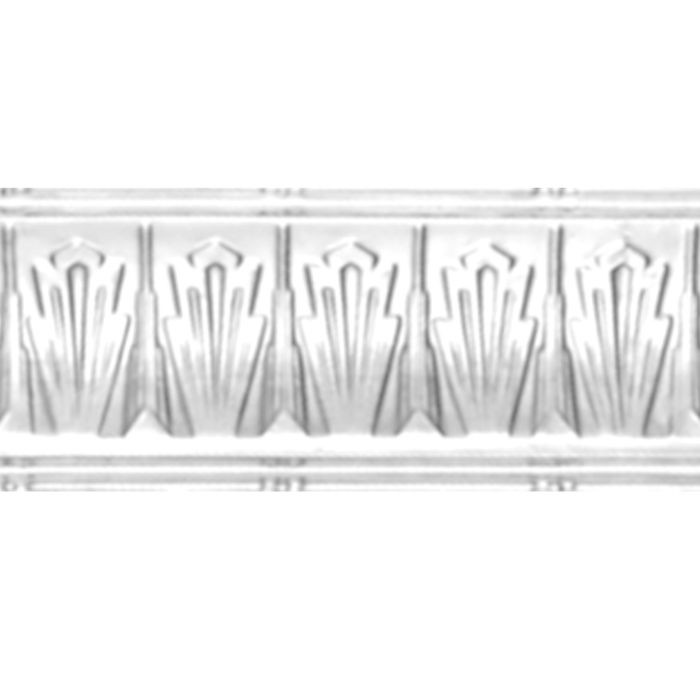 Tin Plated Stamped Steel Cornice | 4in H x 7-1/4in W x 4in Proj | White Finish | 4ft Long