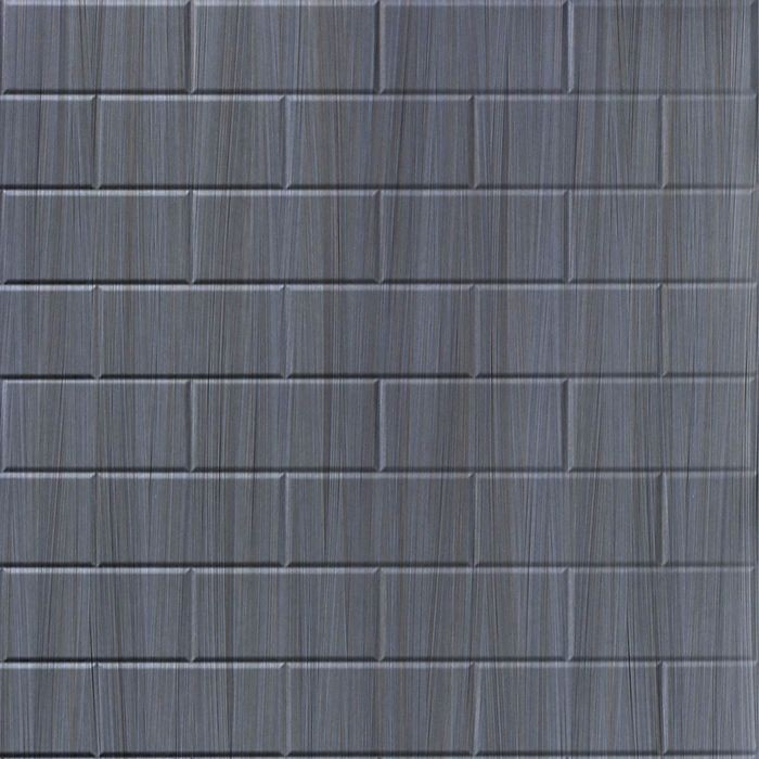 10' Wide x 4' Long Subway Tile Pattern Steel Strata Finish Thermoplastic Flexlam Wall Panel